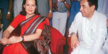 Subramanian Swamy with Sonia Gandhi