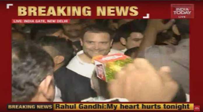 राहुल गांधी कैंडल मार्च